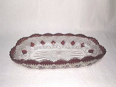EAPG Greensburg ruby stained Tacoma pattern glass celery dish