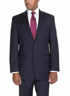Ralph Lauren Total Comfort Classic Fit Navy Blue Wool Suit With Pleated Pants