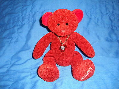 "Russ Bears of the Month Ruby Red Teddy Bear January 7"" Plush & Beans"