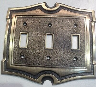 Triple Toggle Light Switch Cover Plate Brass Vintage AH American Hardware