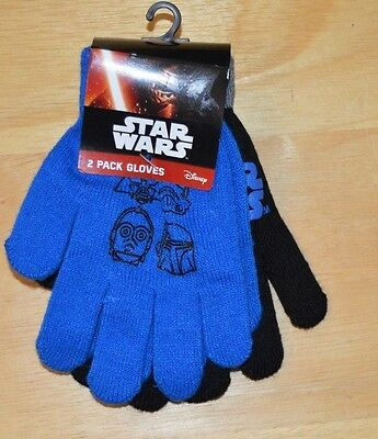 Youth Kids Boys  STAR WARS Stretch Glove Set 2 Pairs of Gloves