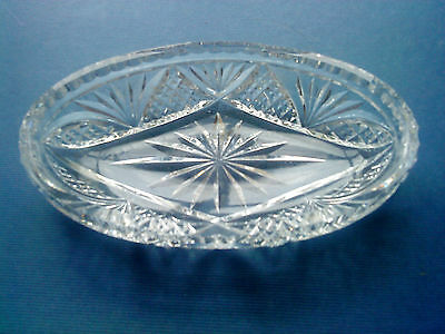 Vintage Deep Cut Crystal Glass Oval Dish Unsigned
