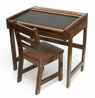 Lipper International Childs Desk with Chalkboard Top and Chair Set, Walnut