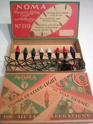 Vintage Noma Christmas Tree Lights No 110 Decorative Lighting 8 Mazda Lamps