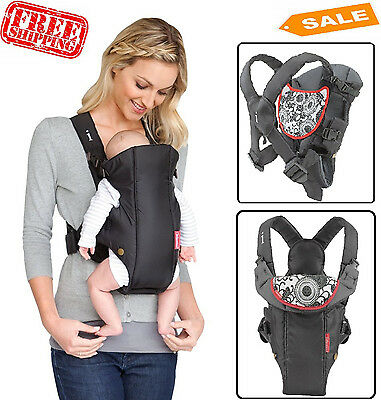 Infant Baby Carrier Wrap Backpack Cotton Black Adjustable Newborn Kid Sling NEW