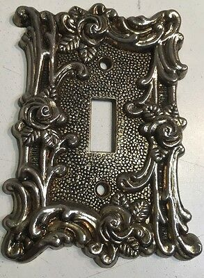 Vintage Silver Brass Light Switch Cover Plate Single Toggle Ornate Rose Floral