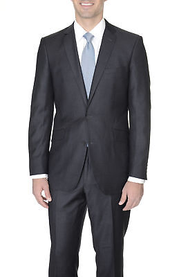 Mens Slim Fit Charcoal Heather Gray Two Button Super 140's Wool Suit