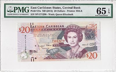 E. Caribbean States, ND(2012) 20 Dollars P53a PMG 65 EPQ