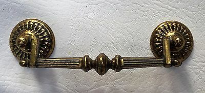 "French Provin. Vintage Chippendale Antique Hardware Brass Drawer Pull 4""center"