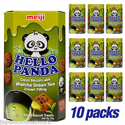 MEIJI Hello Panda Green Tea Matcha Biscuits 50g x 10 pack
