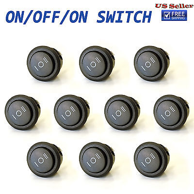 10x ON/OFF/ON 3 Position SPDT Round Rocker Switch 10A/125V 6A/250V