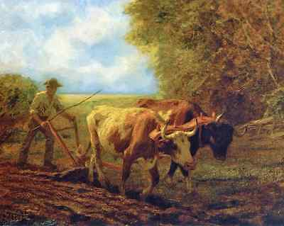 Farm Country Ploughing 8x10 Print Picture 1880 Oxen Plowing by Clarence Gagnon