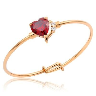 18K Gold Filled Heart Red Ruby CZ Cuff Bangle Jewellery for Baby Toddler Gift