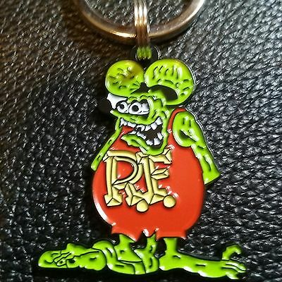 """HOT ROD RAT"" metal KEYCHAIN"
