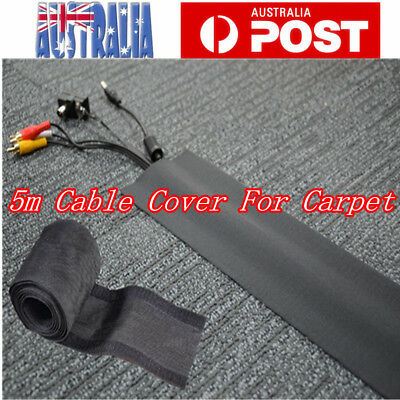 5m Carpet Cable Cover Floor Cable Cord Wire Management Hider Sleeves 10cm Width