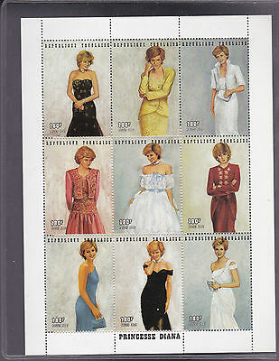 Princess Diana Royal Gowns Plate Block of Nine, issue of Tonga