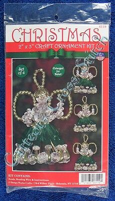 "Christmas Bead Kit Green Angels Craft Beaded Kit Makes 4 2"" x 3"""