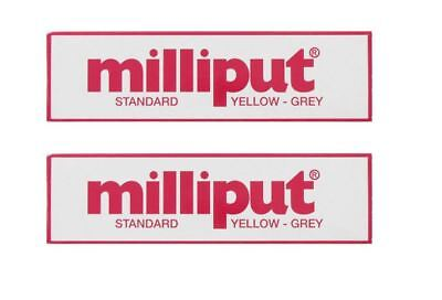 2 X Milliput Standard Epoxy Putty 2 Part Self Hardening Grey Yellow 4oz Pack