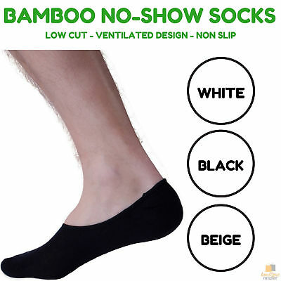 NO SHOW BAMBOO SOCKS Non Slip Heel Grip Low Cut Invisible Footlet Bulk New