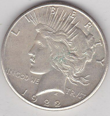 Usa 1922S Silver Peace Dollar In Extremely Fine Condition