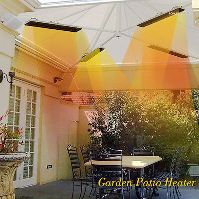 1800W Stainless Steel Infrared Electric Patio Heater Bar Garden Heating Solution