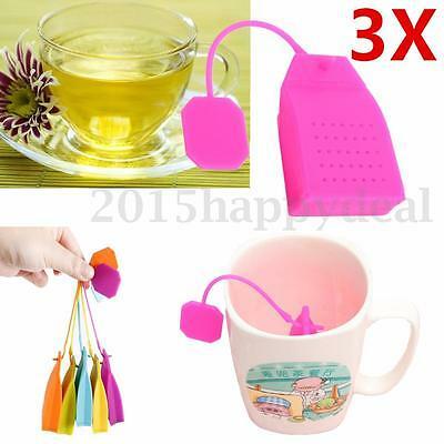 3Pcs New Silicone Loose Tea Leaf Strainer Herbal Spice Infuser Diffuser Filter