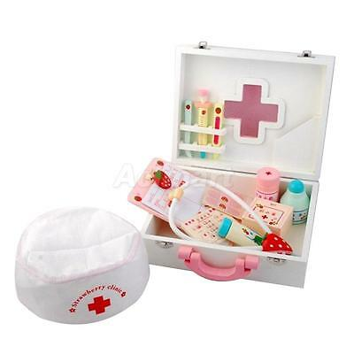 Children Wooden Doctor Role Play Set Medical Kit Kid Pretend Game Carry Case