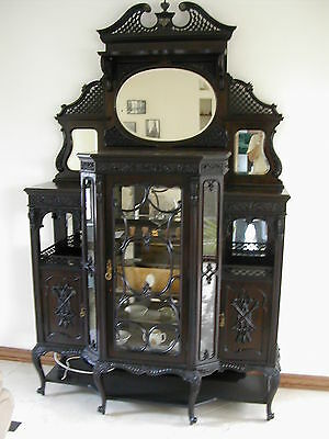 Mahogany Chiffonier China Cabinet Armoire c.1850 Downton Abbey Style