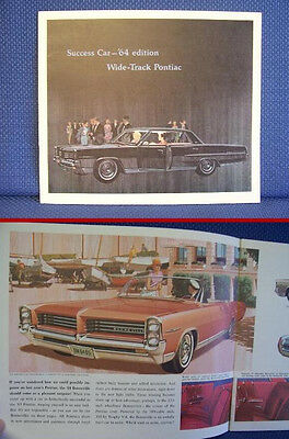 1964 PONTIAC Automobile Color Sales Catalog Brochure - New Old Stock