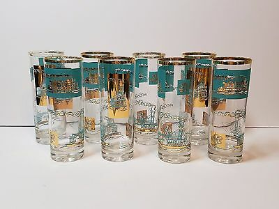 8 Vtg Southern Comfort Steamboat High Ball Tumbler Cocktail Glasses Gold 50s 60s