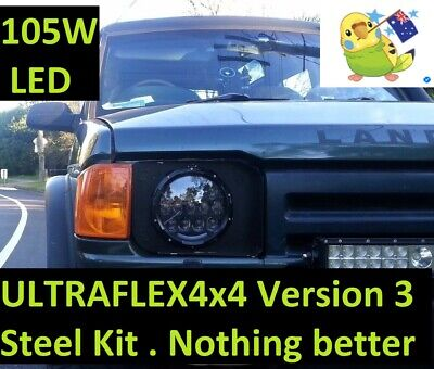 LR Discovery 1 & 2 CONVERSION  7'' *LEGAL* 105W Round LED Headlights DRL+TURN