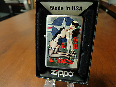 Pinup Girl Sexy In The Mood Nose Art Wwii Driben Zippo Lighter Mint In Box