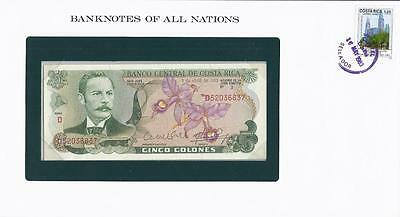 Banknotes of All Nations, Costa Rica 5 Colones, 1983, P236, Uncirculated