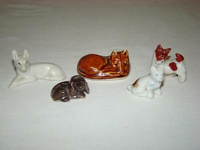 Vintage Miniature Dog Figurines Porcelain Bone China Made in Japan Lot of 5