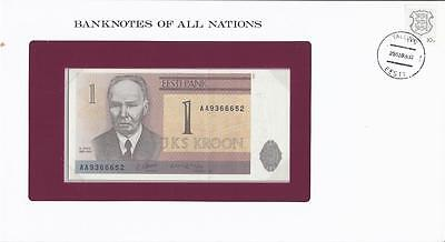 Banknotes of All Nations, Estonia 1 Kroon, 1992, P69 , Uncirculated