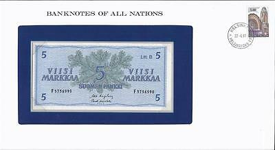 Banknotes of All Nations, Finland 5 Markkaa, 1963, P106a, Uncirculated