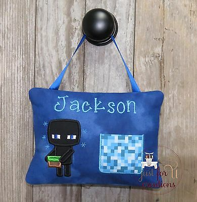 Boy Personalized Tooth Fairy Pillow Inspired Block Video Computer Game Character