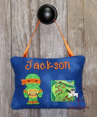 Boy Personalized Tooth Fairy Pillow Inspired Ninja Turtle Orange Character