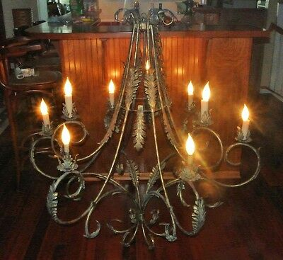 Antique Large Brass Bronze Chandelier 9 Light lamp Candelabra Leaf Curled Arms!