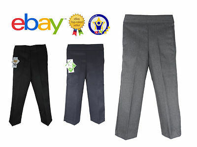 UK Boys School Trousers Pull up Black Grey Navy Pull On Elasticated Age 2 - 13