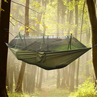 Portable Jungle Parachute Fabric Hammock Bed With Mosquito Net Outdoor Bushcraft