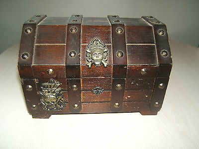 """Distressed Pirate Wooden Treasure Chest Jewelry Box 9.5"""" x 7"""" x 7"""" Ship Anchor"""