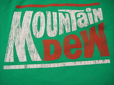 Mountain Dew T Shirt Green Large VINTAGE Lettering