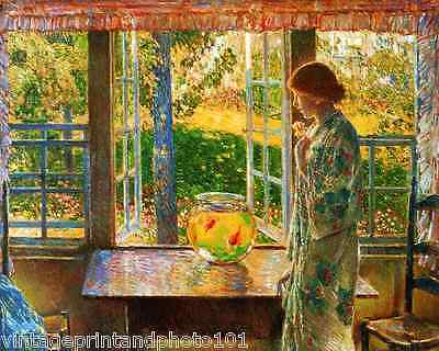The Couch on Porch by Childe Hassam Art Girl Sunny Day Rest Read 8x10 Print 0905