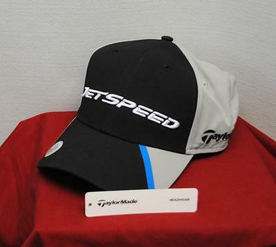 New Mens Taylormade Jet Speed Black Nylon Golf Cap One Size Fits All