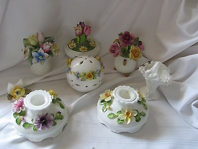 Coalport collection lot candlesticks potpourri flower figurines shabby chic