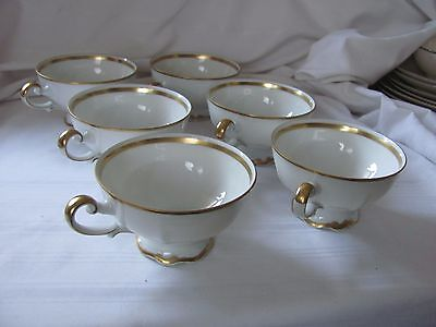 Mitterteich Golden Lark lot of 6 footed tea cups gold white Bavaria Germany 92