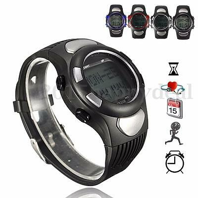3D Pulse Heart Rate Monitor Pedometer Calorie Counter Fitness Sports Wrist Watch