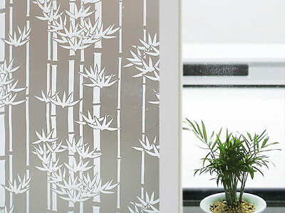 "CHOIS GW014 Adhesive Cling Privacy Frosted Bamboo Glass Window Films 35"" Width"