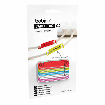 BOBINO CABLE TAGS - Easy identify Your Cables Cords Wires 10 Tags Pack **NEW**